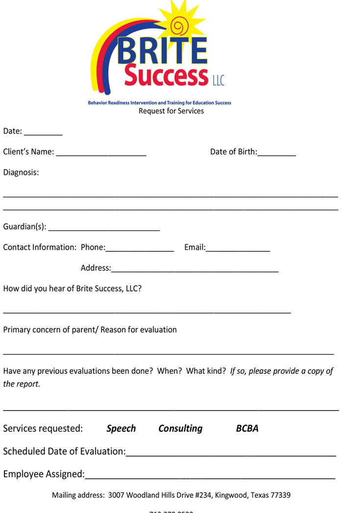 Request for Services Form
